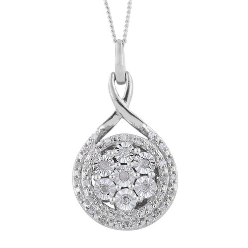 GP Diamond Dream (Rnd), Kanchanaburi Blue Sapphire Pendant with Chain in Platinum Overlay Sterling Silver 0.270 Ct.