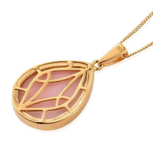Natural Peruvian Pink Opal (Pear) Pendant With Chain in 14K Gold Overlay Sterling Silver 11.000 Ct.
