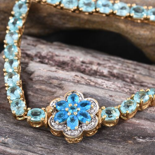 Paraibe Apatite (Ovl), Malgache Neon Apatite and Natural Cambodian Zircon Necklace (Size 20) in Yellow Gold Overlay Sterling Silver 30.000 Ct.