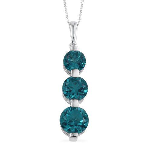 Capri Blue Quartz (Rnd 4.35 Ct) 3 Stone Pendant With Chain in Platinum Overlay Sterling Silver 9.850 Ct.