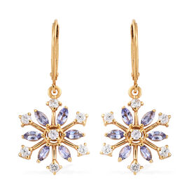 Tanzanite and Zircon 2.25 Ct Silver Snowflake Lever Back Earrings in Gold Overlay