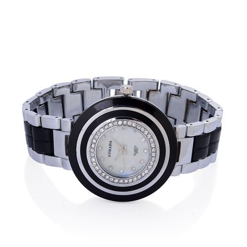 STRADA Japanese Movement White Dial White Austrian Crystal Watch in Silver Tone with Black Resin Strap