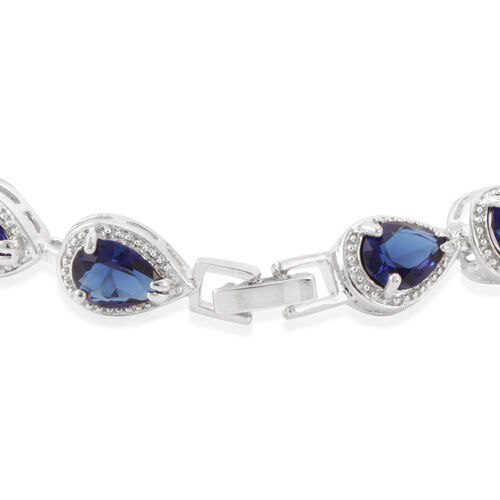 JCK Vegas Collection AAA Simulated Sapphire (Pear) Bracelet (Size 7) in Silver Bond