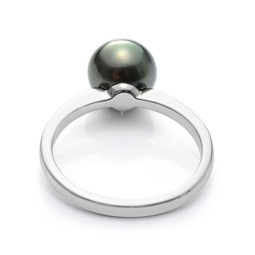 RHAPSODY 950 Platinum Tahitian Pearl (Rnd) Solitaire Ring 3.750 Ct.