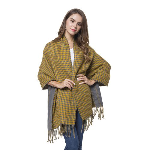 Designer Inspired-Yellow and Grey Colour Houndstooth and Stripe Pattern Knitted Reversible Shawl with Tassels (Size 180X60 Cm)