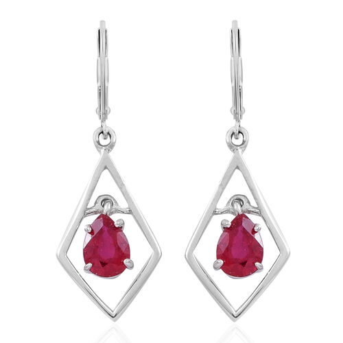African Ruby (Pear) Lever Back Earrings in Rhodium Plated Sterling Silver 2.000 Ct.