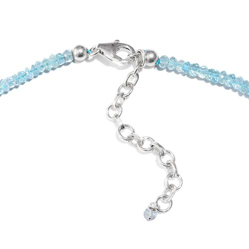One Time Deal- AAA Espirito Santo Aquamarine (Rnd) Beads Necklace (Size 18) in Platinum Overlay Sterling Silver 45.000 Ct.