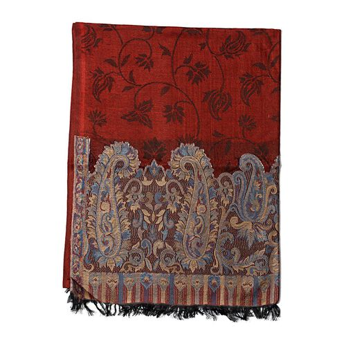 100% Modal Red Colour Kani Palla Shawl with Paisley Motifs on Border (Size 180x70 Cm)