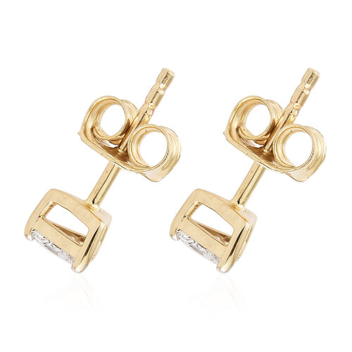 One Time NY  CloseOut-14K Yellow Gold Diamond (Trl) (I1-I2) Stud Earrings (with Push Back) 0.300 Ct.