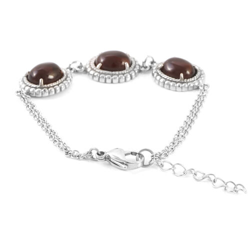 Brazilian Smoky Quartz (Ovl) Bracelet in Stainless Steel (Size 7) 20.000 Ct.