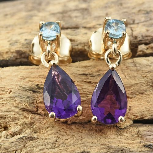 9K Yellow Gold AA Amethyst (Pear), Blue Zircon Earrings (with Push Back) 1.750 Ct.