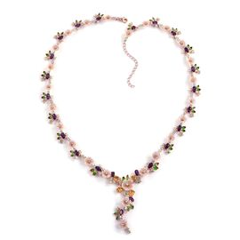 Jardin Collection - Pink Mother of Pearl, Citrine and Multi Gemstone Enameled Flower Necklace (Size 18 with 2 inch Extender) in Rose Gold Overlay Sterling Silver