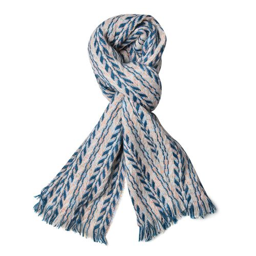 Designer Inspired White, Blue and Multi Colour Leaf Pattern Knitted Blanket Shawl with Fringes (Size 180X60 Cm)
