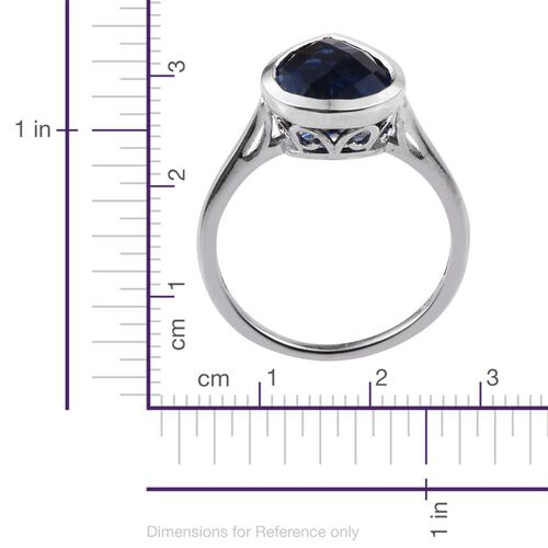 Checkerboard Cut Ceylon Colour Quartz (Pear) Solitaire Ring in Platinum Overlay Sterling Silver 5.750 Ct.