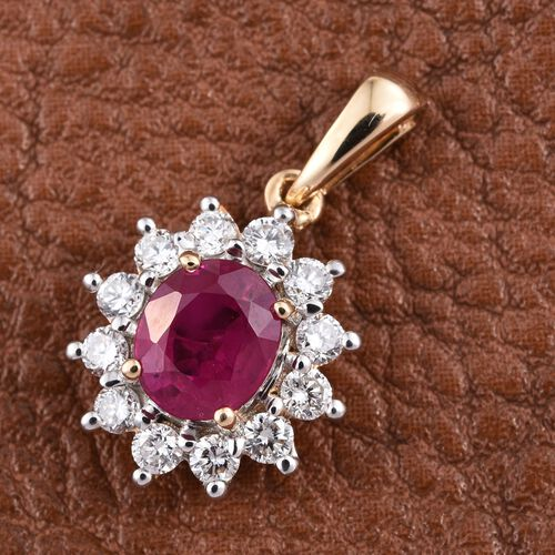 ILIANA 18K Y Gold Burmese Ruby (Ovl 1.10 Ct), Diamond Pendant 1.500 Ct.
