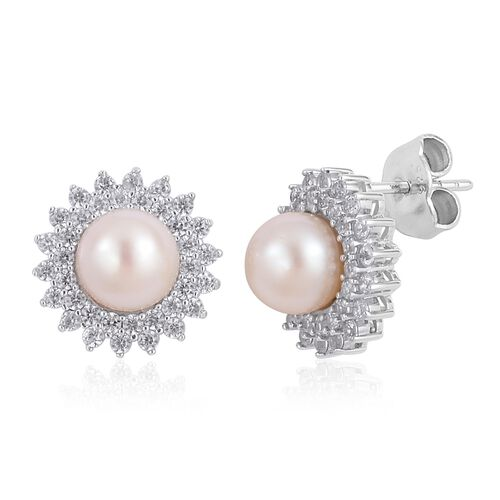 Japanese Akoya Pearl (Rnd 7-8mm), Natural White Cambodian Zircon Stud Earrings (with Push Back) in Rhodium Plated Sterling Silver