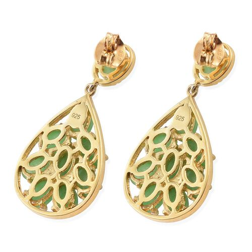 Green Jade (Ovl) Earrings (with Push Back) in 14K Gold Overlay Sterling Silver 11.250 Ct. Silver wt 6.21 Gms.