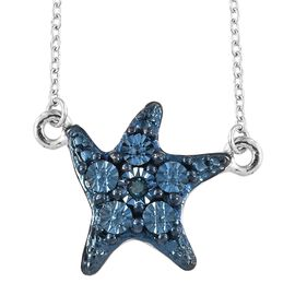 Blue Diamond (Rnd) Star Fish Necklace (Size 20) in Blue, Black and Platinum Overlay Sterling Silver, Silver wt 3.69 Gms.