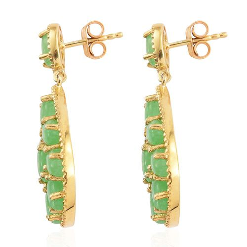 Green Jade (Ovl) Earrings (with Push Back) in 14K Gold Overlay Sterling Silver 11.250 Ct.