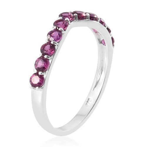 Rhodolite Garnet (Rnd) Wishbone Ring in Sterling Silver 1.000 Ct.
