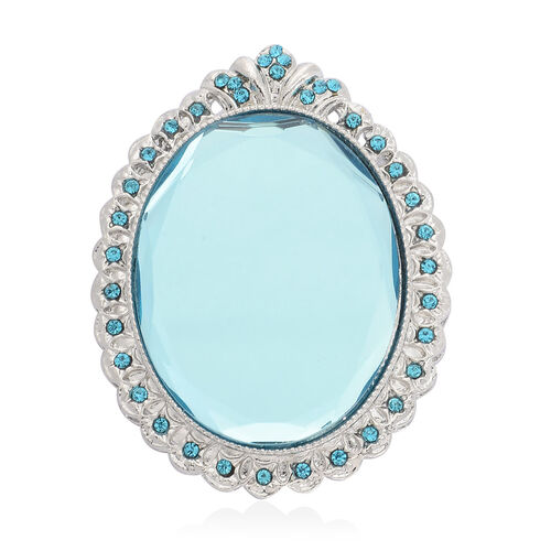 Blue Glass and Blue Austrian Crystal Brooch Or Pendant in Silver Tone