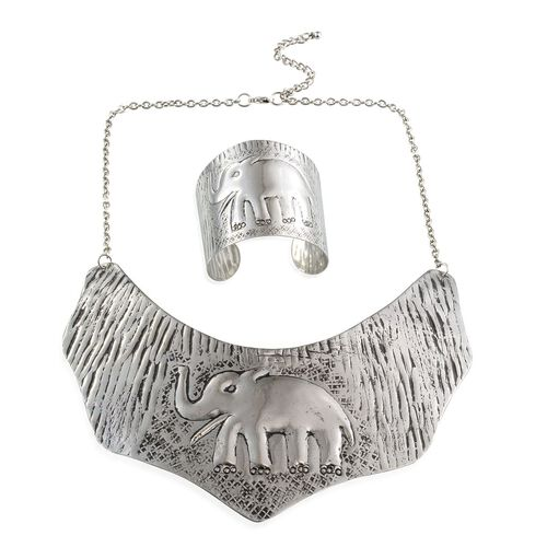 Jewels of India Elephant Embossed Collar and Cuff Bangle