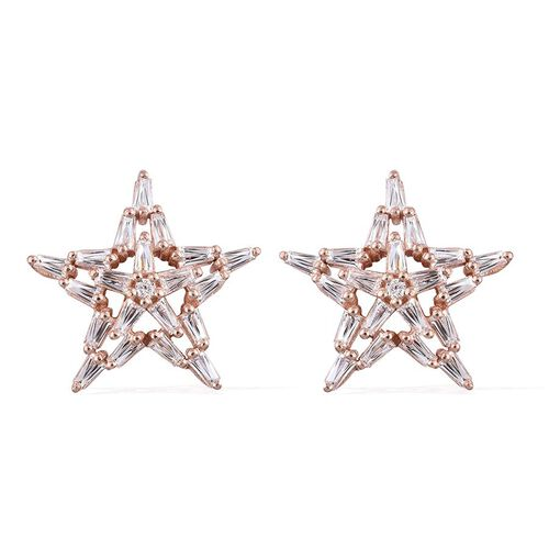J Francis - Rose Gold Overlay Sterling Silver (Rnd) Star Stud Earrings (with Push Back) Made with SWAROVSKI ZIRCONIA