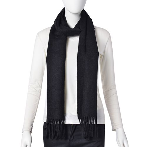 Super Soft 100% Wool Black Colour Scarf with Tassels (Size 204X25 Cm)