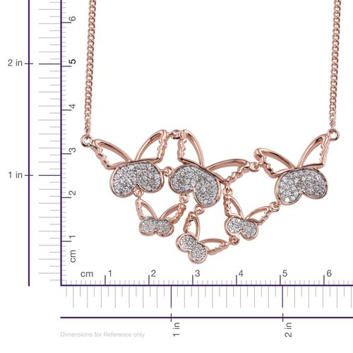 Kimberley Butterfly Collection Natural Cambodian Zircon (Rnd) Butterfly Necklace (Size 18) in Rose Gold Overlay Sterling Silver