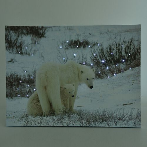 Snow and Polar Bear Pattern Wall Art with LED Light (Size 40X30 Cm)