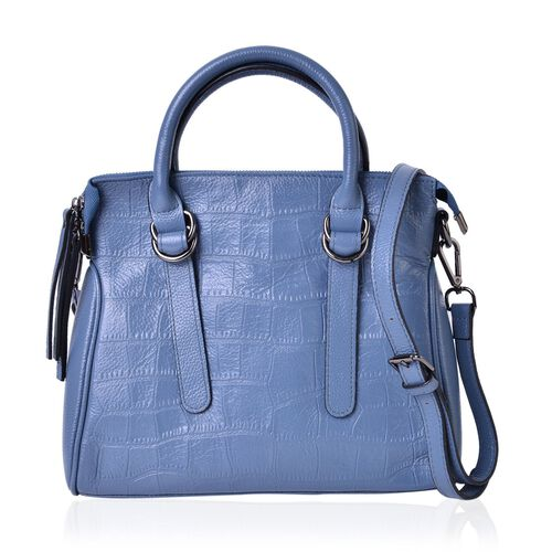 Genuine Premium Leather Croc Embossed Blue Colour Tote Bag with Adjustable and Removable Shoulder Strap (Size 28.5X24.5X9.5 Cm)