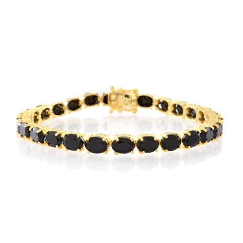 Boi Ploi Black Spinel (Ovl) Bracelet (Size 7.5) in 14K Gold Overlay Sterling Silver 26.000 Ct.