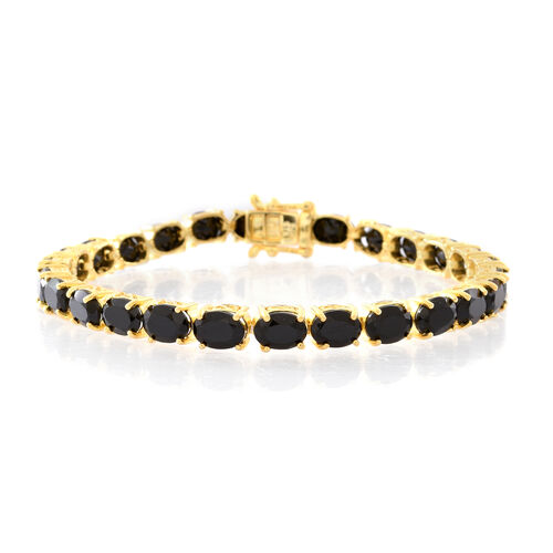 Boi Ploi Black Spinel (Ovl) Bracelet (Size 8) in 14K Gold Overlay Sterling Silver 26.000 Ct.