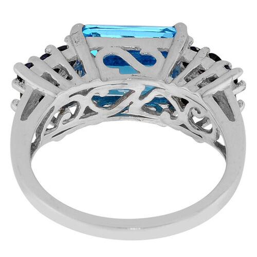 Swiss Blue Topaz (Oct 3.50 Ct) Kanchanaburi Blue Sapphire Ring in Platinum Overlay Sterling Silver  4.36 Ct.