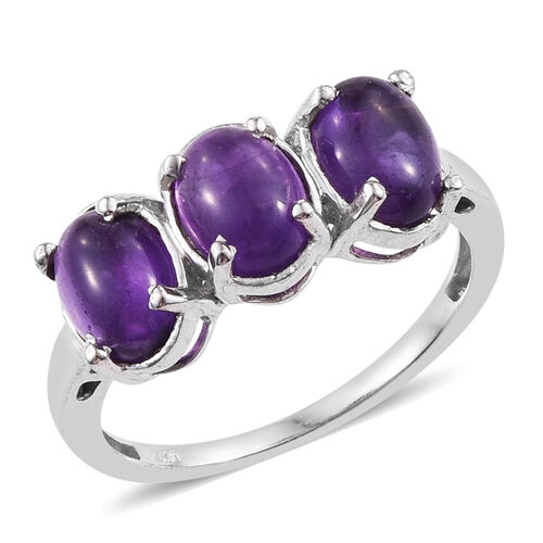 AA Lusaka Amethyst (Ovl) Trilogy Ring in Platinum Overlay Sterling Silver 3.500 Ct.