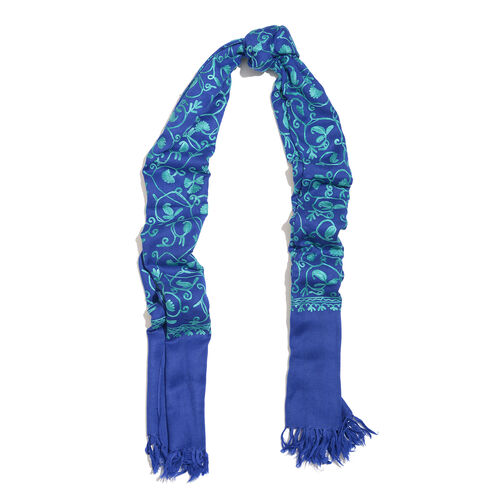 100% Merino Wool Dark and Light Blue Colour Paisley and Leaves Embroidered Scarf with Tassels (Size 180X68 Cm)