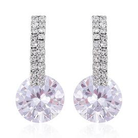 AAA Simulated White Diamond and White Austrian Crystal Earrings (with Push Back) in Silver Plating