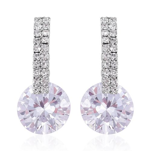 AAA Simulated White Diamond and White Austrian Crystal Earrings (with Push Back) in Silver Tone