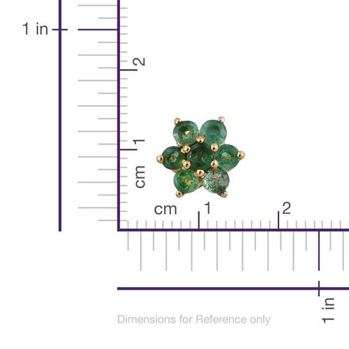 Kagem Zambian Emerald (Rnd) Floral Stud Earrings (with Push Back) in 14K Gold Overlay Sterling Silver 1.000 Ct.
