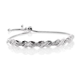 Designer Inspired- Fireworks Diamond (Rnd) Adjustable Bracelet (Size 6.5 to 9) in Platinum Overlay Sterling Silver 1.000 Ct.