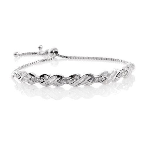 Designer Inspired- Fireworks Diamond (Rnd) Adjustable Bracelet (Size 6.5 to 9) in Platinum Overlay Sterling Silver 1.000 Ct. Silver wt 9.70 Gms.