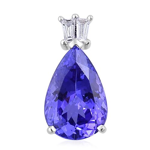 ILIANA 18K White Gold 4.20 Ct AAA Tanzanite, Diamond SI G-H Pendant