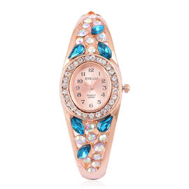 Designer Inspired - STRADA Japanese Movement Sunshine Dial Bangle Watch in Rose Gold Tone with White Austrian Crystal, Simulated AB and Aquamarine Colour Diamond