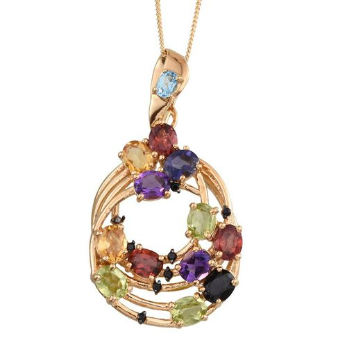 Stefy Hebei Peridot (Ovl), Mozambique Garnet, Citrine, Iolite, Boi Ploi Black Spinel, Amethyst, Electric Swiss Blue Topaz, Pink Sapphire Pendant With Chain in 14K Gold Overlay Sterling Silver 4.00 Ct.