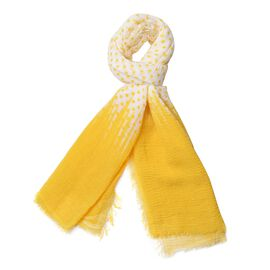 Designer Inspired-Yellow and Off White Colour Polka Dots Pattern Scarf (Size 180x90 Cm)