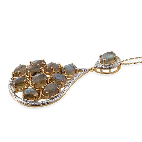 Labradorite (Ovl), Diamond Pendant With Chain in 14K Gold Overlay Sterling Silver 17.510 Ct.