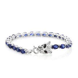 TJC Special Deal- Designer Inspired Premium Masoala Sapphire (Ovl) Leopard Head Bracelet (Size 8) in Platinum Overlay Sterling Silver 15.000 Ct.