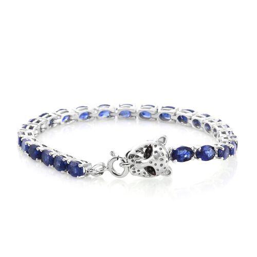Premium Collection - Designer Inspired Masoala Sapphire (Ovl) Leopard Head Bracelet (Size 8) in Platinum Overlay Sterling Silver 15.000 Ct. Silver wt 10.60 Gms.