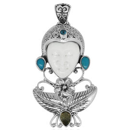 Princess Bali Collection OX Bone Carved Face, Citrine, Arizona Sleeping Beauty Turquoise and Signity Paraiba Topaz Pendant in Sterling Silver 13.610 Ct.