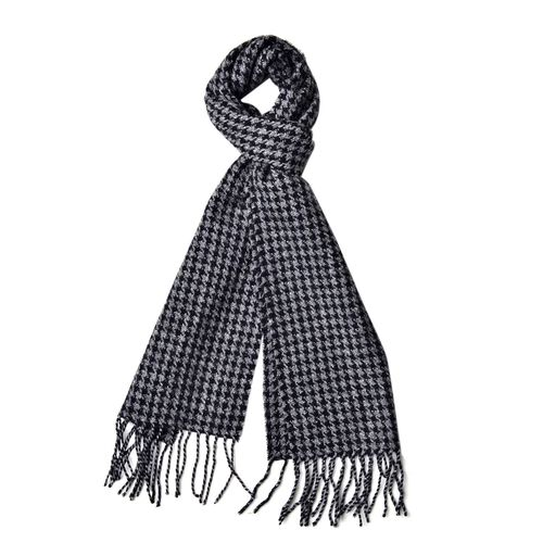 90% Wool Black and Grey Colour Houdstooth Pattern Scarf with Tassels (Size 180x30 Cm)